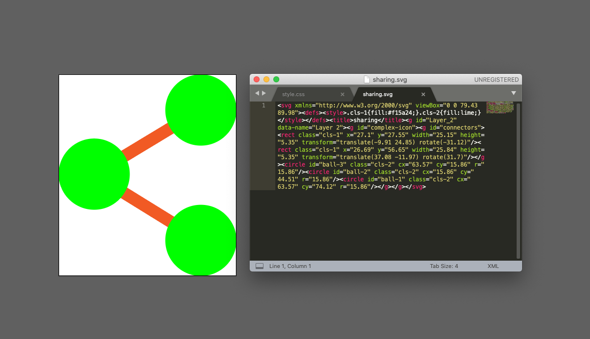 """Sharing"" icon as an SVG. On the left the visual image, on the right the actual code. (the colours are ugly on purpose as we will change them later using code)"
